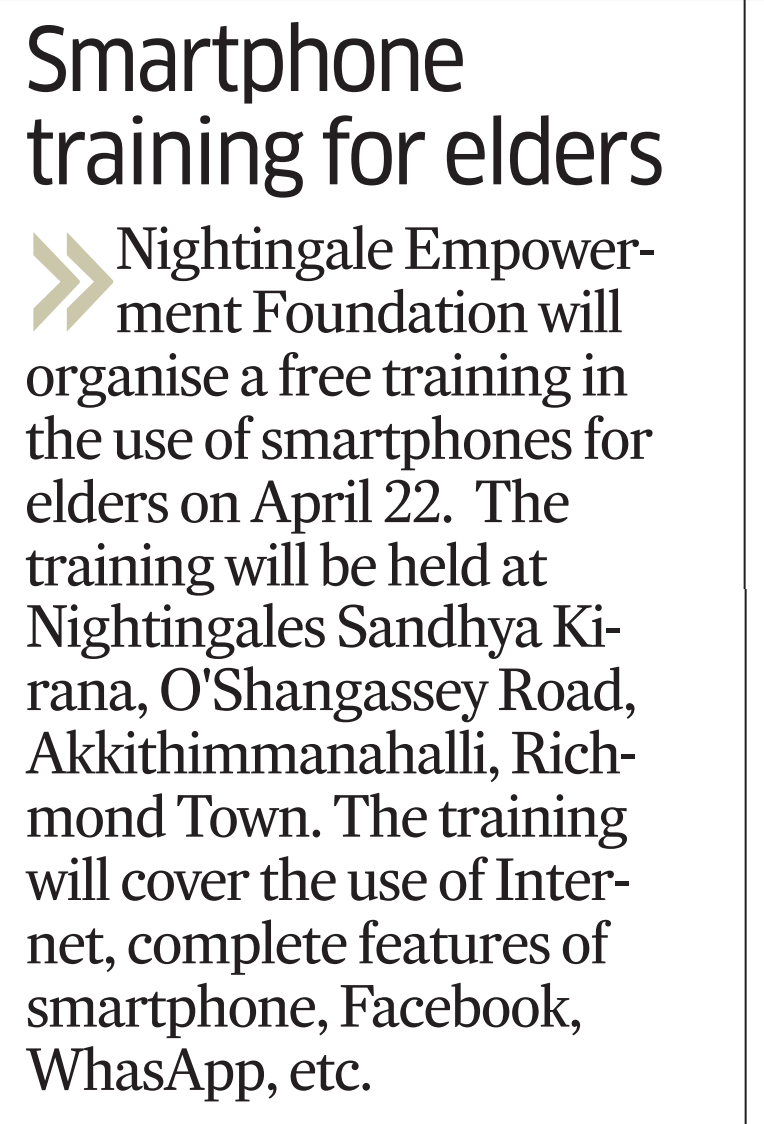 Article about Free Smartphone training for Senior Citizens